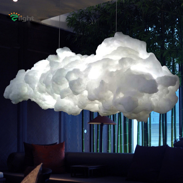 Modern Floating Cloud Led Pendant Chandelier Luminaria White Cotton Bedroom Chandeliers Lighting Hanging Lights