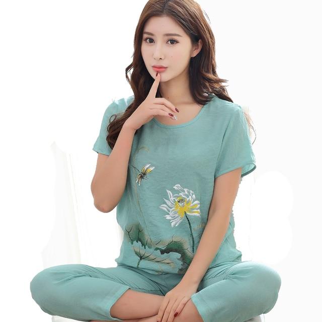 2018 Summer New Print Women Cotton Linen Pajamas Set Chinese Pyjamas Suit 2  PCS Sleepwear Flower Nightwear M L XL XXL D127-05 7b4633d85