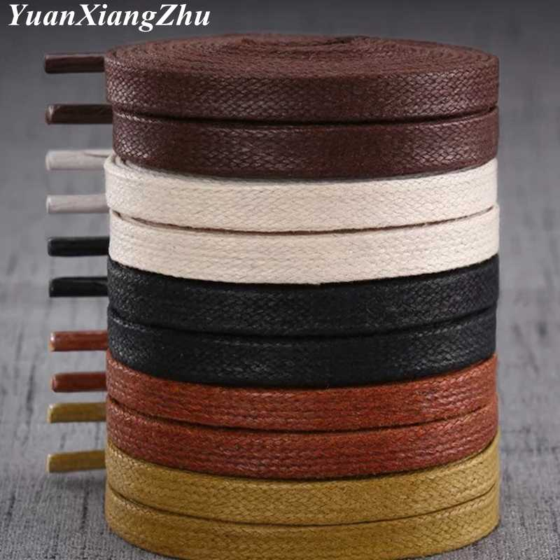 1Pair Waxed Flat Shoelaces Leather Waterproof Casual Shoes Laces Unisex Boots Shoelace Length 60 80 100 120 140 160 180CM