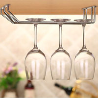Wall Suction Glasses Cup Holder Stainless Steel Wine Goblet Racks Wall Hanging Double Row Wine Glass Cup Holders