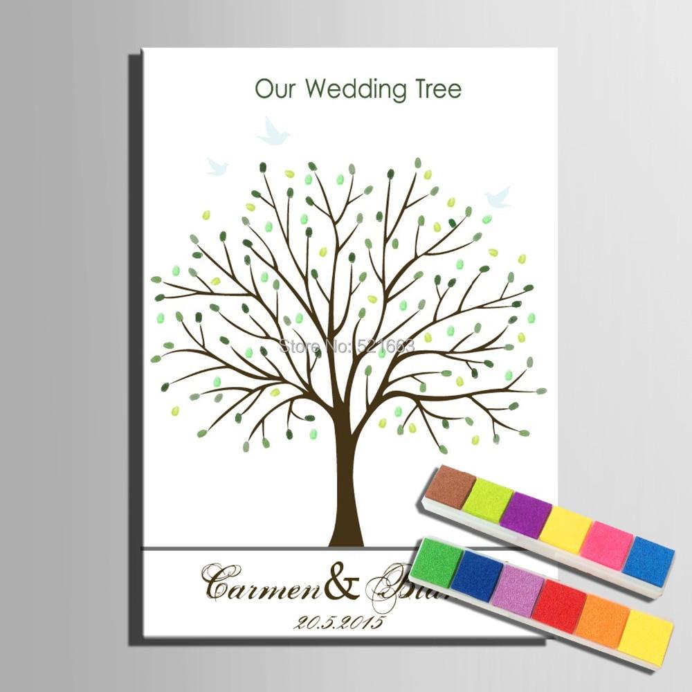 지문 트리 서명 캔버스 페인팅 녹색 나무 결혼 선물 - 휴일 파티 용품