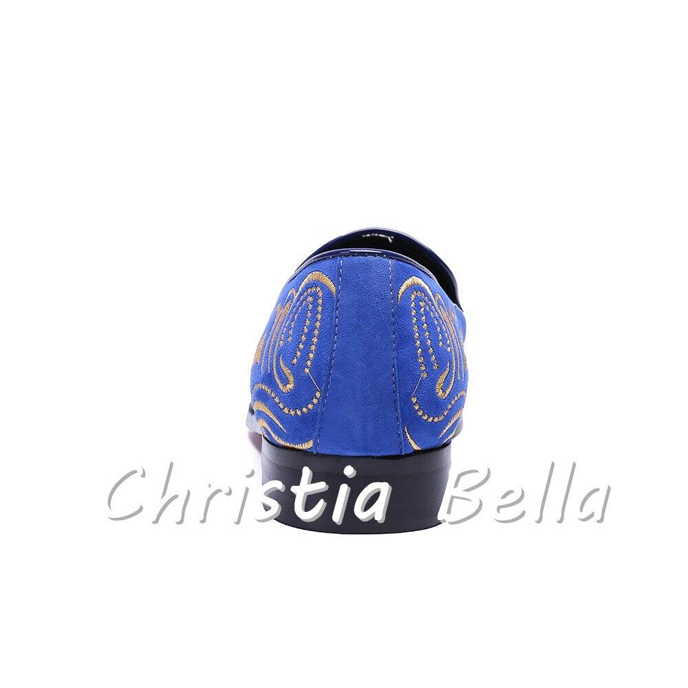 Design Mocassins E 38 Festa azul Size Marca Moda Bordado Preto Casamento Homens Bella De Christia Veludo Plus Flats Sapatos 47 vermelho Sapato PaOqExwKT