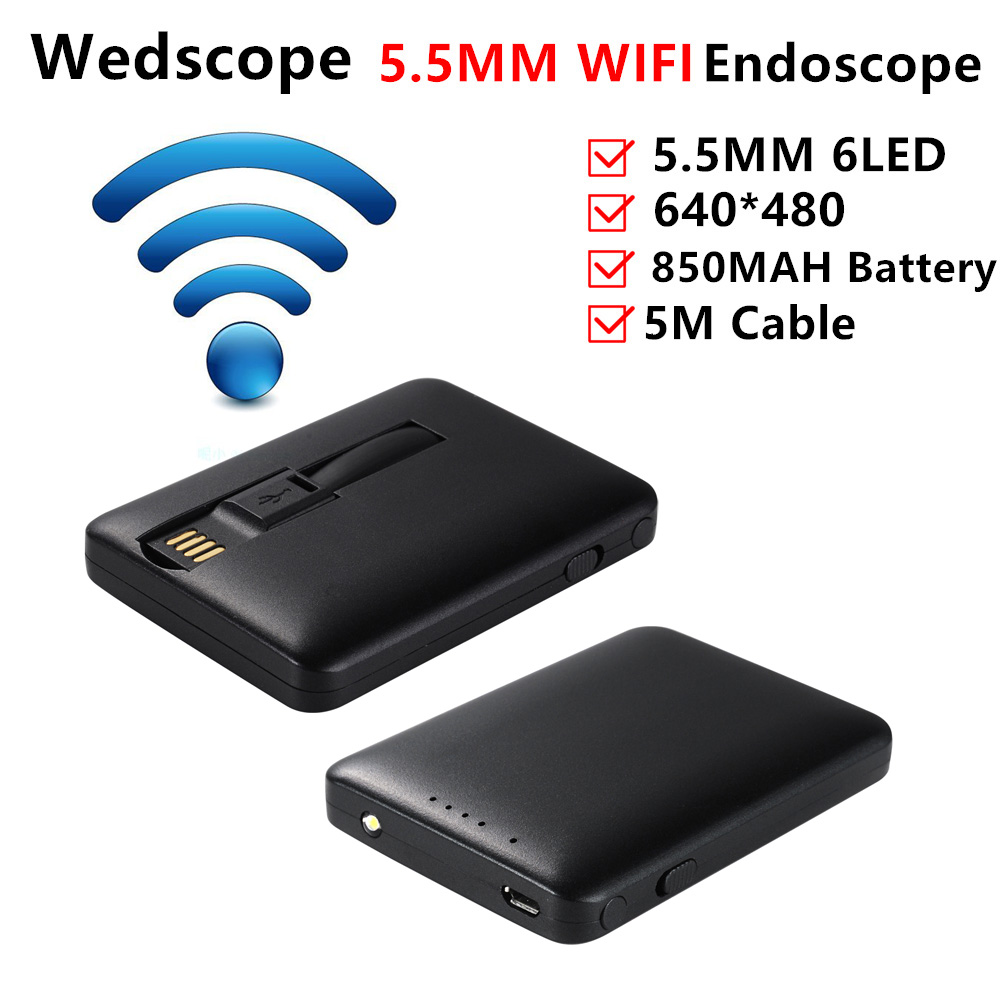 Endoscope 5 5mm 5m waterproof wifi endoscope camera module for Microcamera wifi per iphone e android