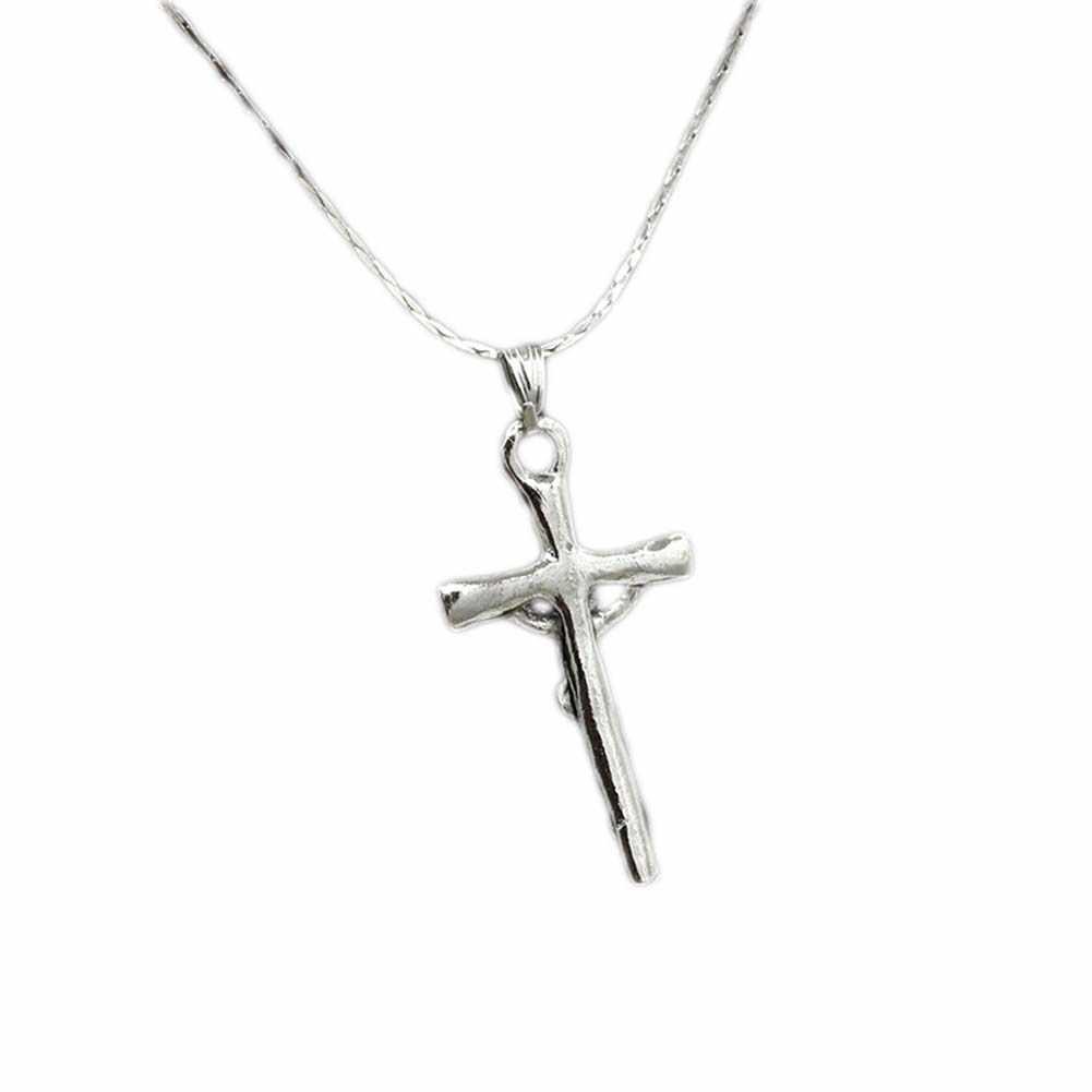 Jezus krzyż krucyfiks wisiorek naszyjnik biżuteria męska Retro naszyjniki dla mężczyzn