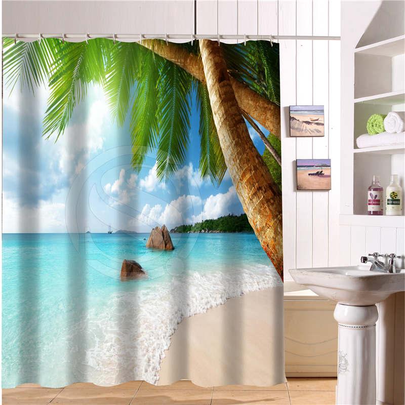 Contemporary Buddha Beach Bathroom Decor: 2017 Custom Bath Curtain Beach Summer Ocean Sky Sea Nature