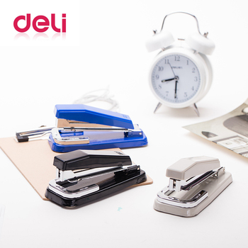 Deli 1pcs rotatable Metal Manual Staplers three random color large size office school paper binding Stapleser deli 0102 color random delivery paper punch metal practical design manual school office double hole 12mm deep paper punch