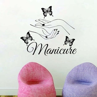 Beauty Nail Salon Vinyl Wall Sticker Art Manicure Wall Decals Butterfly Hands Nail Shop Wall Window