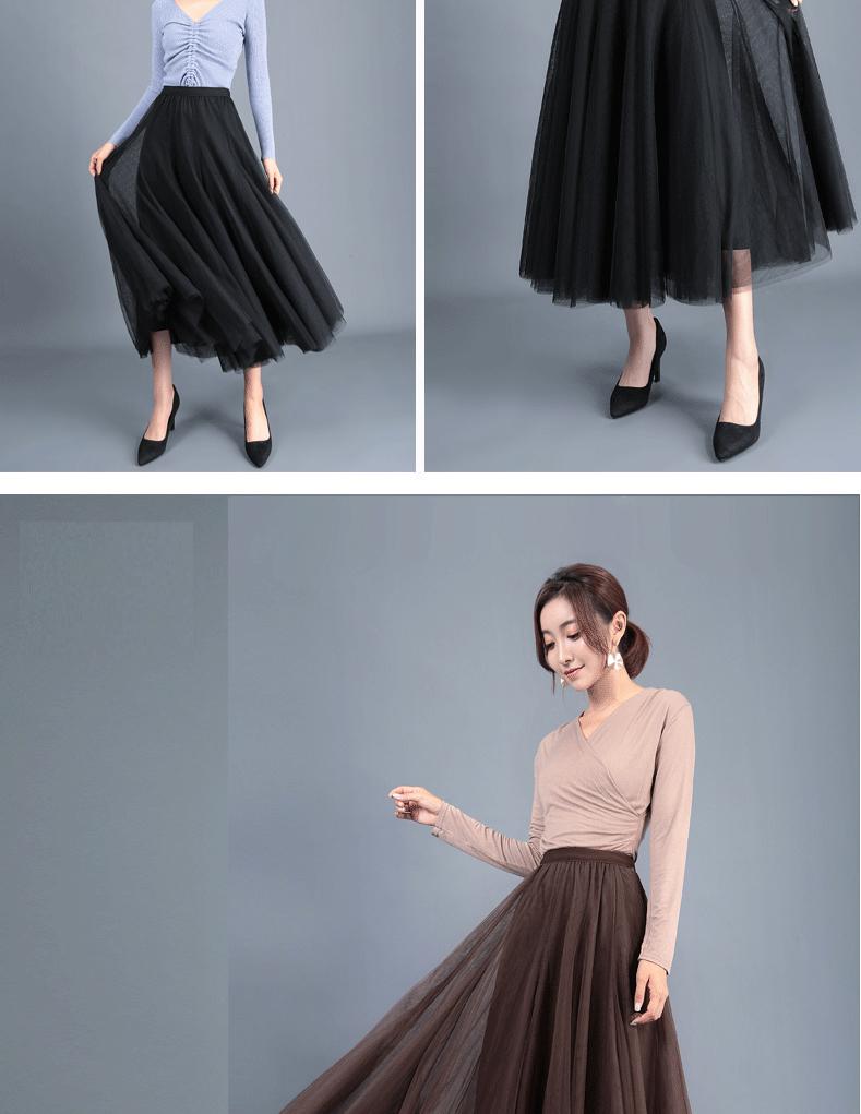 Jielur Autumn 3 Layers Princess Tulle Skirts Vintage Solid Color Mesh Women Skirt Pleated A-line Saia Female Jupe Tutu Skirts 15