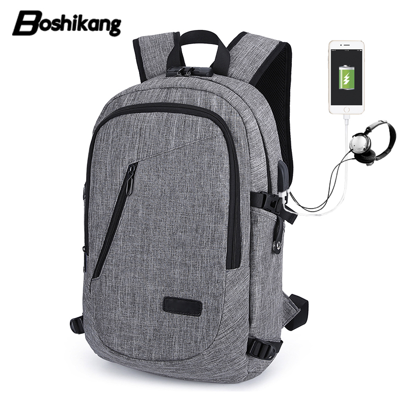 d2165747771 Boshikang Men Casual Backpack Fashion Travel Bag Security Computer Backpack  USB Charging School Bag For Teenager