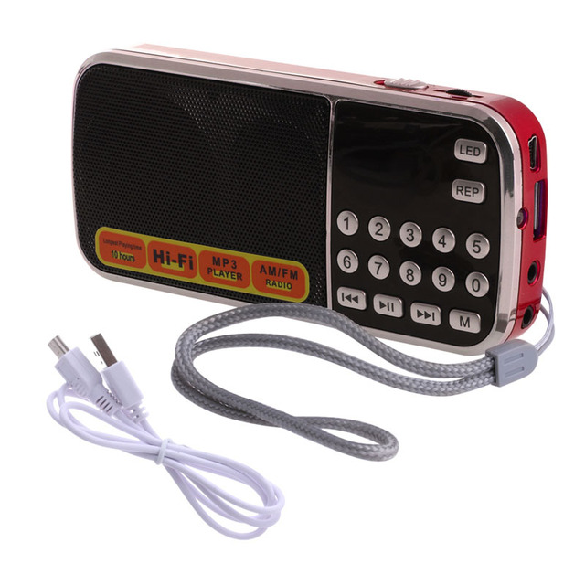 Rechargeable Portable Mini Digital Stereo FM Radio Speaker Music Player with TF Card USB AUX Input with Display and flashlight