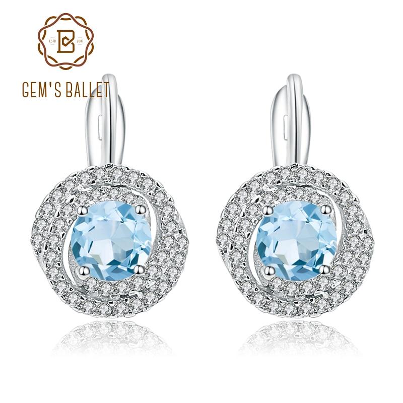 Gems Ballet 2.10ct Natural Sky Blue Topaz Gemstone Stud Earrings 925 Sterling Silver Fine Jewelry For Women Wedding Fine Jewelry Earrings
