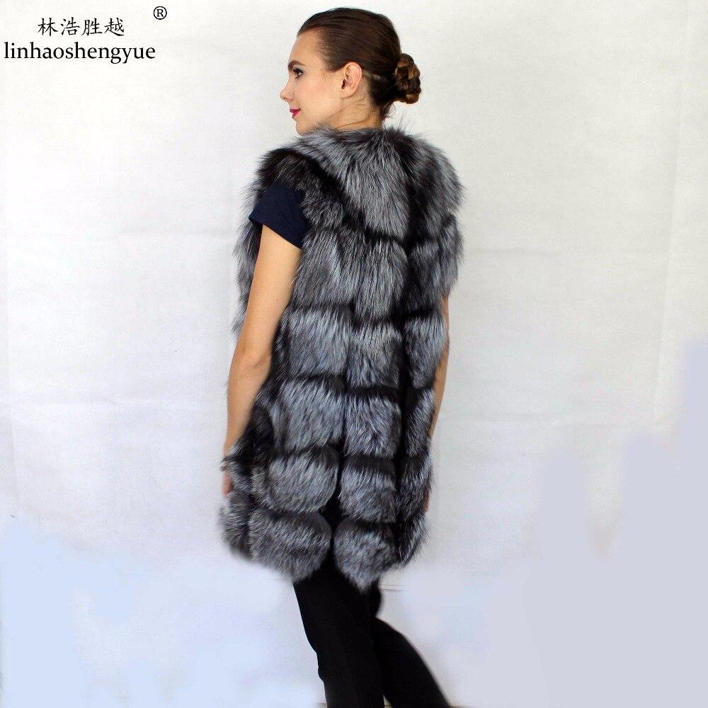 Linhaoshengyue 72 CM UZUN Gümüş tilki ceket kırmızı tilki kürk - Bayan Giyimi - Fotoğraf 2