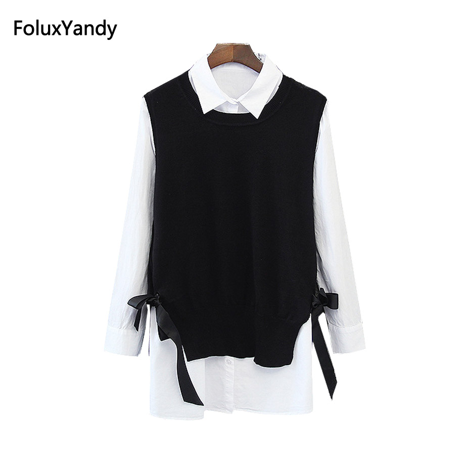2 Pieces Women Blouse Brand New Plus Size 3 4 XL Casual Female Long Sleeve Blouse Shirt KK2590
