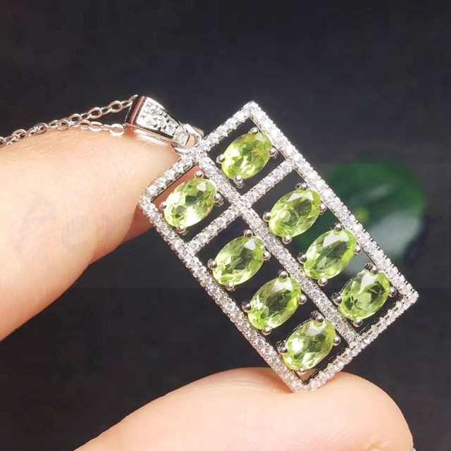 dc62528ef Natural peridot necklace pendant Free shippping 925 sterling silver Abacus  style For men women 0.28ct*8pcs gemstone #TF18072411