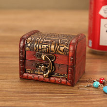 Jewelry Box Vintage Wood Handmade Box Mini Metal Lock Storing Jewelry Treasure Pearl Antique old decorative wooden box A30619(China)
