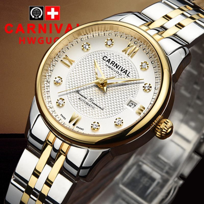 Luxury Carnival watch women stainless steel waterproof Automatic machine date white dial wristwatch relogio feminine ultra luxury 2 3 5 modes german motor watch winder white color wooden black pu leater inside automatic watch winder