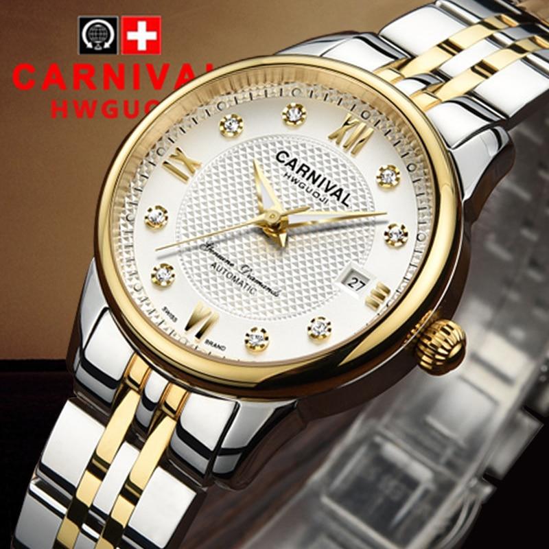 Luxury Carnival watch women stainless steel waterproof Automatic machine date white dial wristwatch relogio feminine luxury aluminum watch