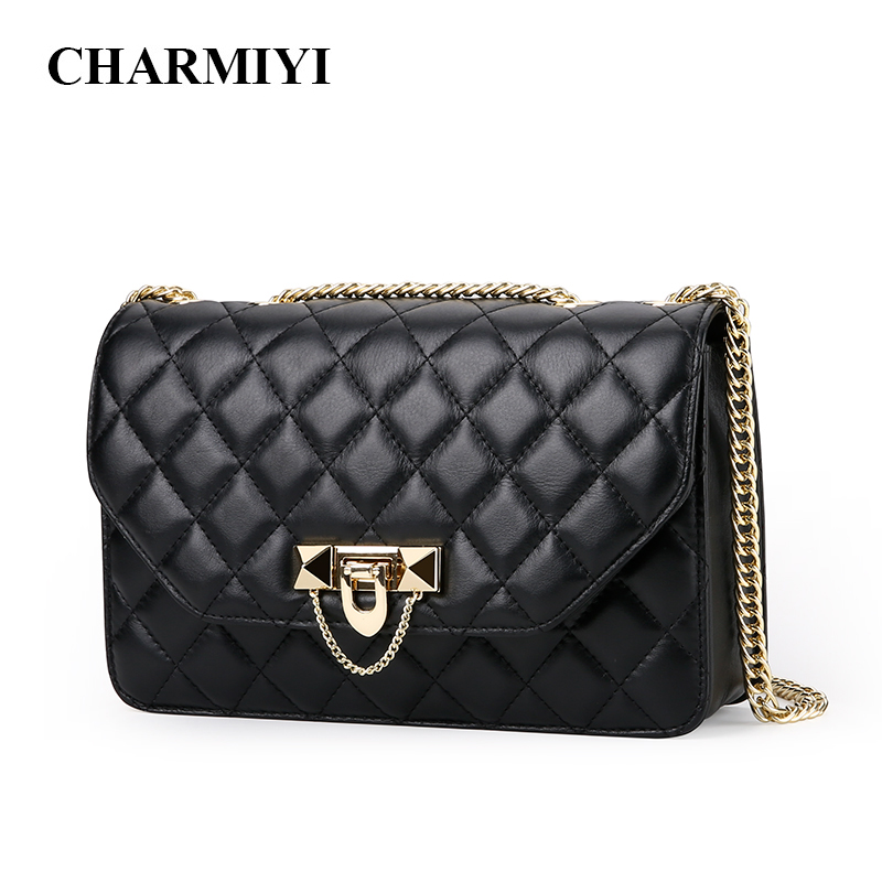 CHARMIYI Luxury Genuine Leather Women Messenger Bag Casual Chain Female Handbags Brand Ladies Shoulder Crossbody Designer Bags ly shark brand luxury handbags women bags designer female shoulder messenger bag casual high quality ladies genuine leather bags