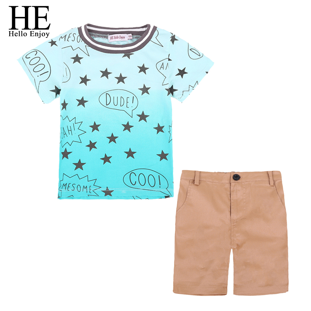 HE Hello Enjoy Children Clothing Set Summer Brand 2018 Casual Boys Clothes Kids Short Sleeves Stars T-shirt +Shorts Sport Suits fake necktie emblem pockets embellished shorts sleeves shirt for men
