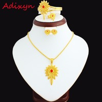 New Red Stone Ethiopian Jewelry Sets 24K Gold Plated Necklace Pendant Earring Ring Bangle African Women