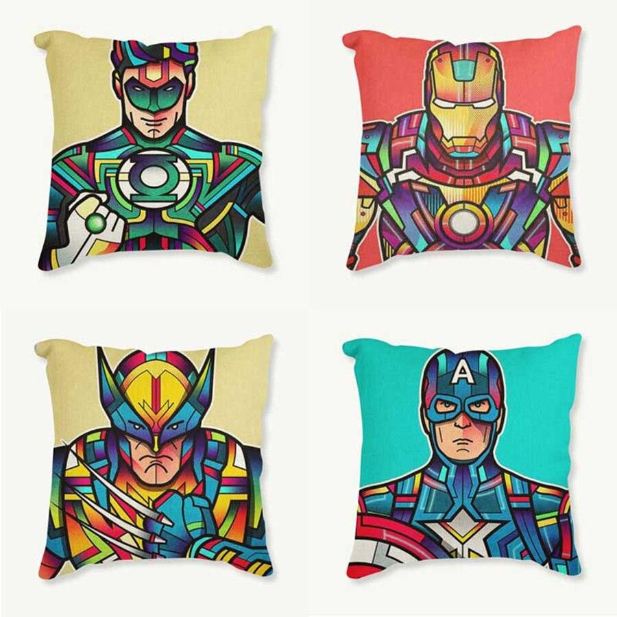 Peinture Super Décoratif Bande Dessinée Super Héros Coussin Coussins Mosaïques Le Avengers Taie D'oreiller Iron Man 45*45 cm