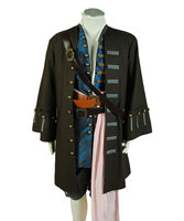 Custom Pirates Costume Captain Jack Sparrow Jacket Vest Pants Outfit Cosplay Costume For Halloween Full Set
