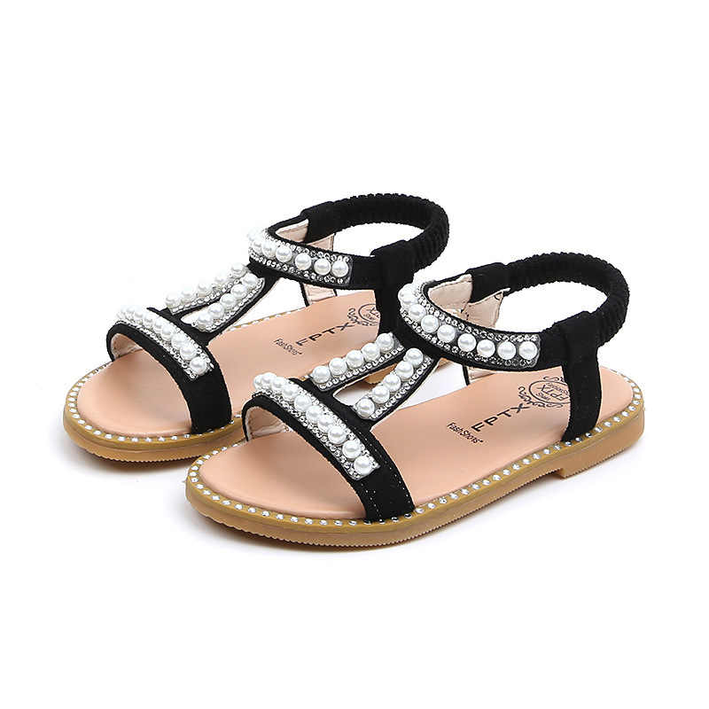 COZULMA New Summer Girl Roman Style Sandals Kids Beach Sandals Girls Pearl Beading Dress Shoes Children Rhinestone Summer Shoes