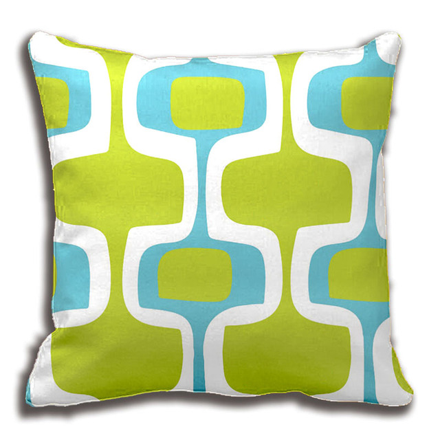 Mid Century Aqua And Chartreuse Retro Pattern Throw Pillow Best Chartreuse Pillows Decorative