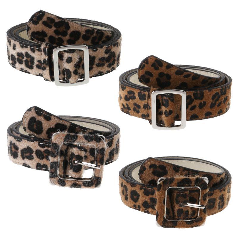 Cinturón de leopardo y hebilla cuadrada de las mujeres Universal Casual pantalones vaqueros pantalones de Ropa Decoración de moda ajustable 2,8/3,3 cm de ancho cinturones