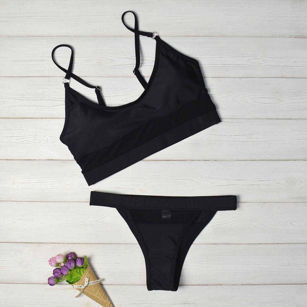 Push Up Mesh Bikini Swimwear Women 2019 Sexy Swimsuit Mesh Micro Thong Brazilian Bikini See Through Women Bathing Suit Biquinis in Bikinis Set from Sports Entertainment