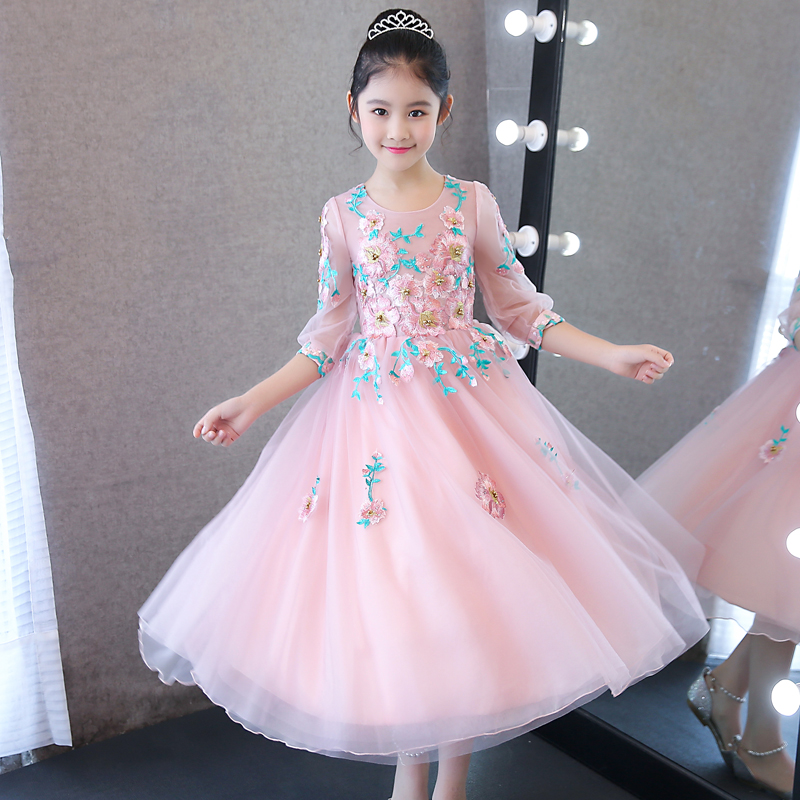 2018New Spring Children Girls Embroidery Flowers Princess Birthday Wedding Party Prom Long Dress Kids Babies Piano Player Dress muqgew new fashion 2018 children party