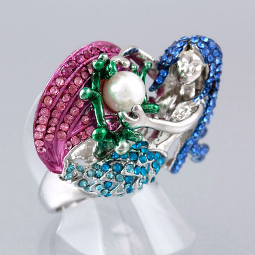 Mysterious Mermaid Rings Big White Simulated Pearl Blue Figure Shape Noble Rings For Women