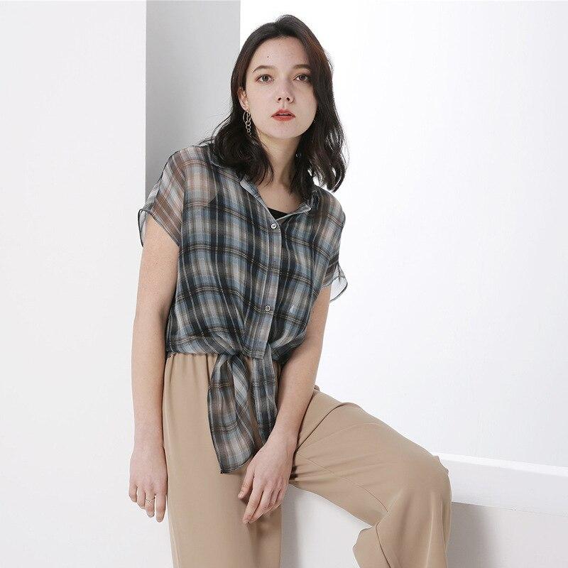 PIXY Summer Grey 100% t shirt à lacets en soie t shirt décontracté lâche Plaid dames hauts grande taille femmes vêtements de luxe à manches courtes arc - 3