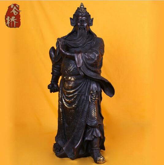 B0601 418Bronze sculpture copper crafts font b knife b font guan gong keeper bronze sculpture decoration