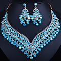 African Wedding Jewelry Gold Plated Crystal Tassel Necklace and Earrings set Classic Bridal Jewelry sets