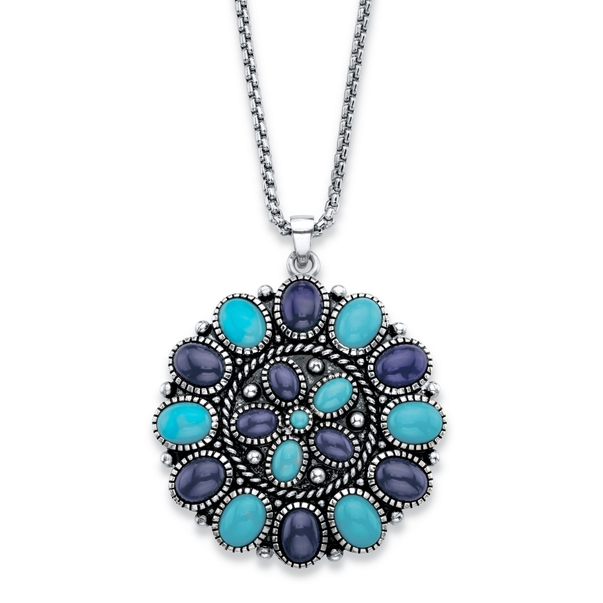 Palmbeach Jewelry 58974 Oval Cut Simulated Turquoise-colored Stone & Blue Lapis Rope Accent In Antiqued Silvertone Pendant Ne... ледянка 1toy cut the rope cut the rope
