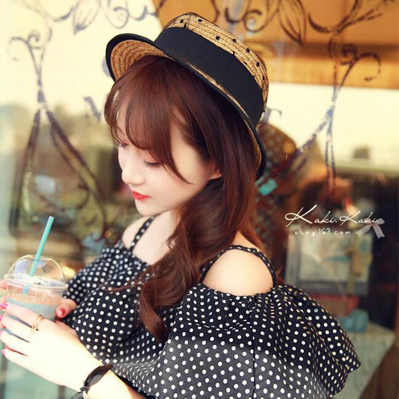 SUOGRY Lace Mesh Dots Bow Straw hats 2017 New Spring Women 39 s Organdy sun hat Solid Sunmmer Beach female Sun hat in Women 39 s Sun Hats from Apparel Accessories