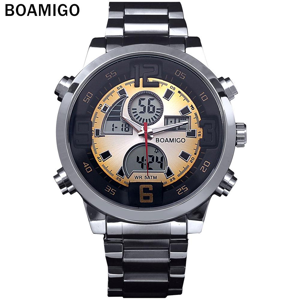Prix pour 2016 Hommes militaires sport montres Double Temps Quartz Numérique Montre coloré LED lumière en acier plein montres relogio masculino