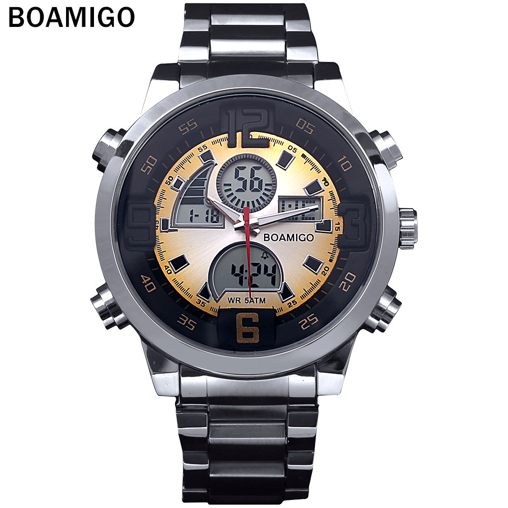 2016 Men military sports watches Dual Time Quartz Digital Watch colourful LED light full steel wristwatches