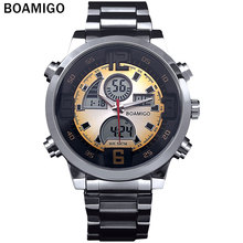 2016 Hombres de los deportes militares relojes de Hora Dual Digital de Cuarzo Reloj colorido LED luz de acero completo relojes de pulsera relogio masculino