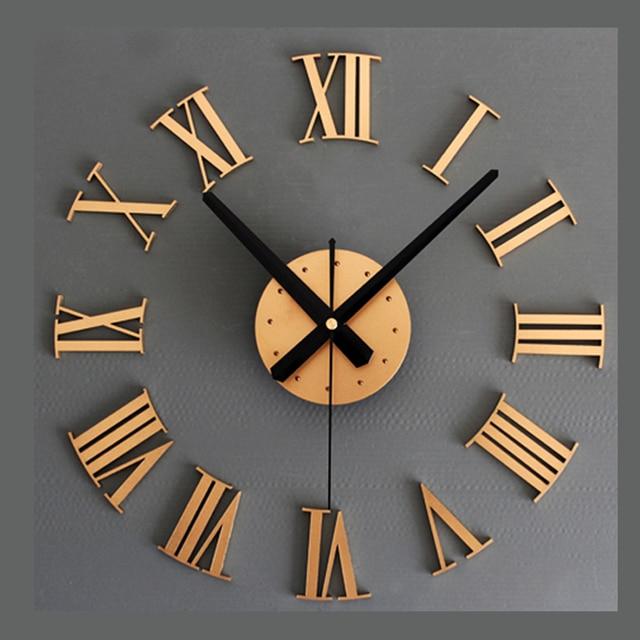 Cool Imitation Metall Diy Wanduhr Modernes Design Wohnzimmer Uhren D  Rmischen Schrift Retro Stil Wand Uhr Art With Wohnzimmer Uhren
