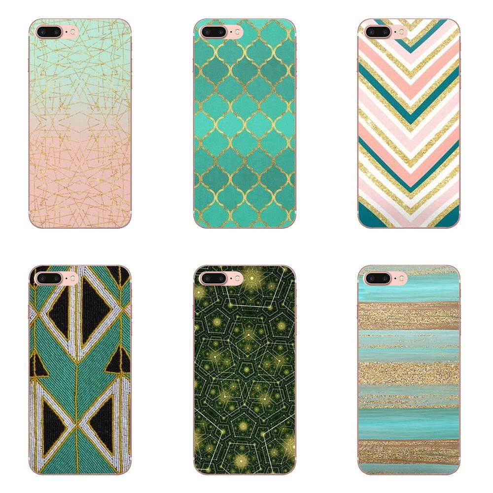 Soft Cell Phone Case Cover Green Glitter Geometric For Xiaomi Mi3 Mi4 Mi4C  Mi4i Mi5 Mi 5S 5X 6 6X 8 SE A1 Max Mix 2 Note 3 4