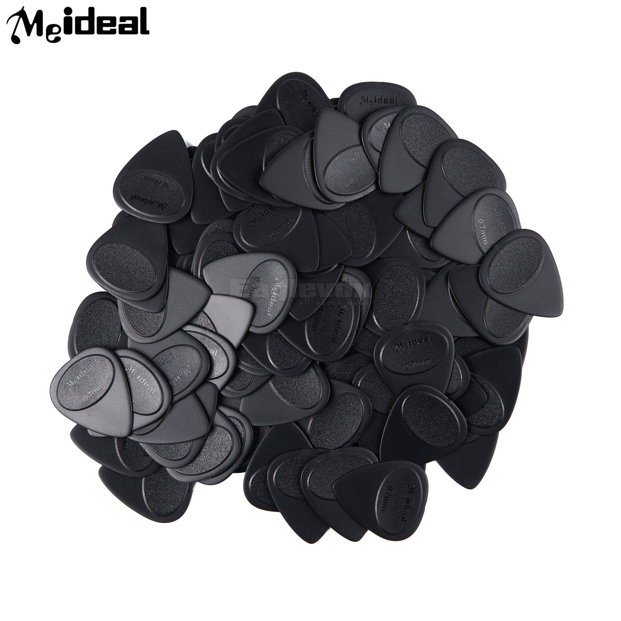 Meideal 100pcs ABS Guitar Picks Black Thickness 0.7 1.2 mm Plectrums for Acoustic Electric Guitar 100pcs acoustic electric guitar picks parts acoustic celluloid plectrum multi 0 46 0 71mm classical guitar pick