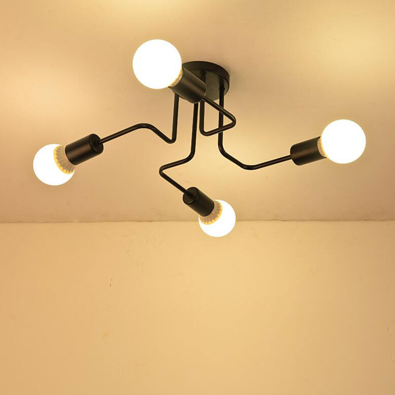 Retro 8-head Ceiling Light Loft Nordic Pipe Wrought Iron Lamp For Room Cafe U7U9