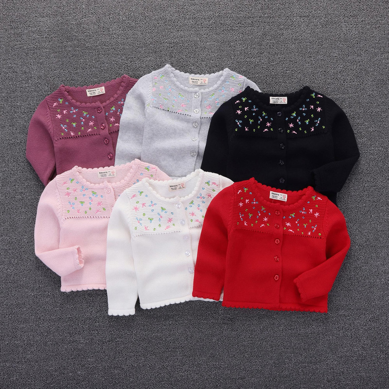 Girls Sweater 2019 Baby Girls Cardigan Embroidery Floral Full Sleeve Baby Girl Clothes Infant Knitted Cardigan Jacket BC528