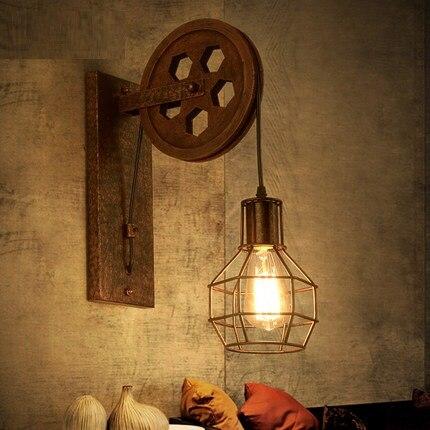 Loft Style Iron Pulley Dinding Antik Lampu Industri Angin Edison Wall Sconce Tangga Samping Tempat Tidur Lampu Dinding Pencahayaan Dalam Ruangan Vintage Wall Light Edison Wall Sconcewall Sconce Aliexpress