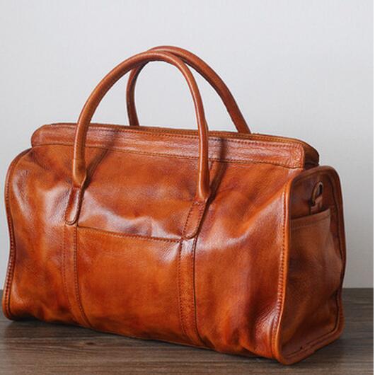 New Brand Genuine Leather Travel Bag For Women Portable Vintage Unique Crossbody Bag Shoulder Handbag Travel Tote