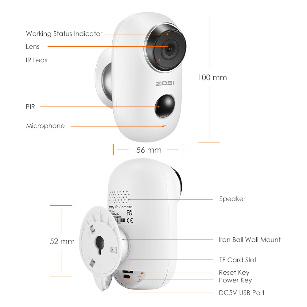 Image 3 - ZOSI WiFi Camera Rechargeable Battery Powered 720P/1080P Full HD Outdoor Indoor  IP65 Weatherproof Security Wireless IP Camera-in Surveillance Cameras from Security & Protection