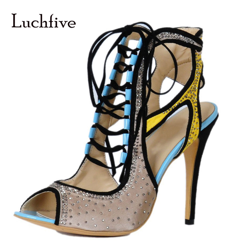 Здесь продается  fashion Women Sandals Peep toe high heels Cut outs patchwork women Jewel shoes Lace up stiletto Gladiator sandalias mujer  Обувь
