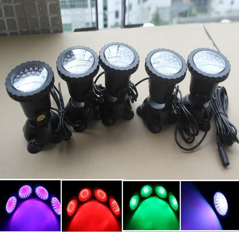 New arrive 5 Pin 1 RGB led aquarium light 36LED Submersible IP68  Underwater LED Spotlights Garden Fish Tank + EU UK US AU Plug 20 25 30 31 35 36 40 45 50 60cm rgb 5730 smd led underwater light aquatic coral aquarium sea reef fish tank us eu uk au plug